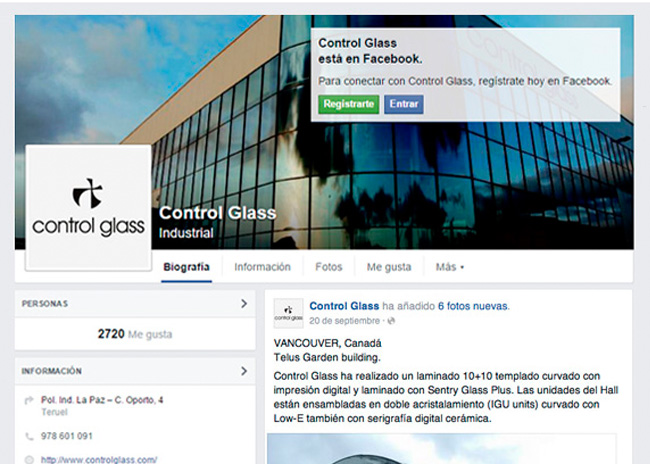 El Facebook de Control Glass supera los 2700 likes